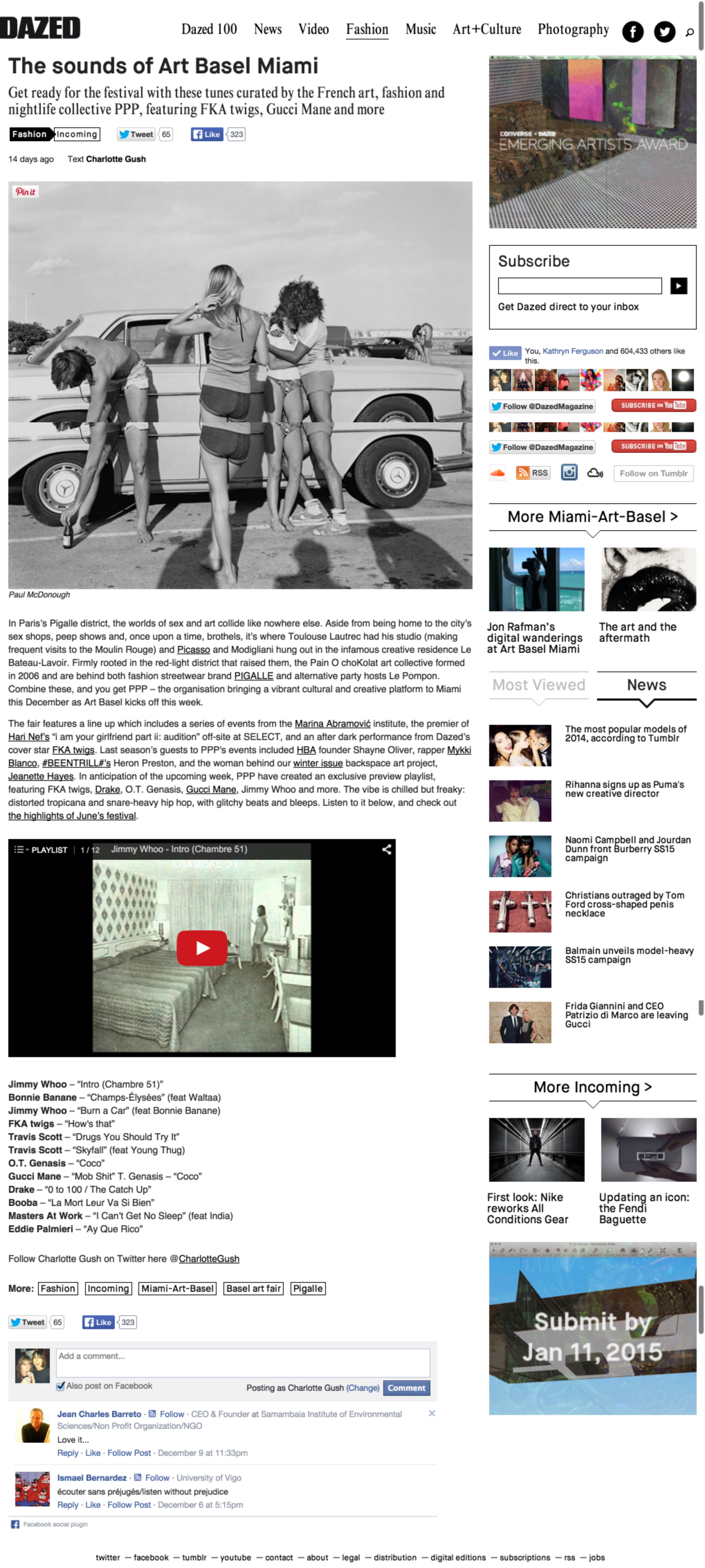 A screenshot of the article on Dazed Digital